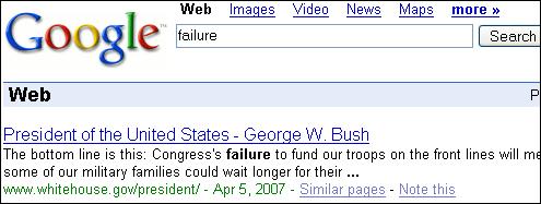 Google Bombing sur failure