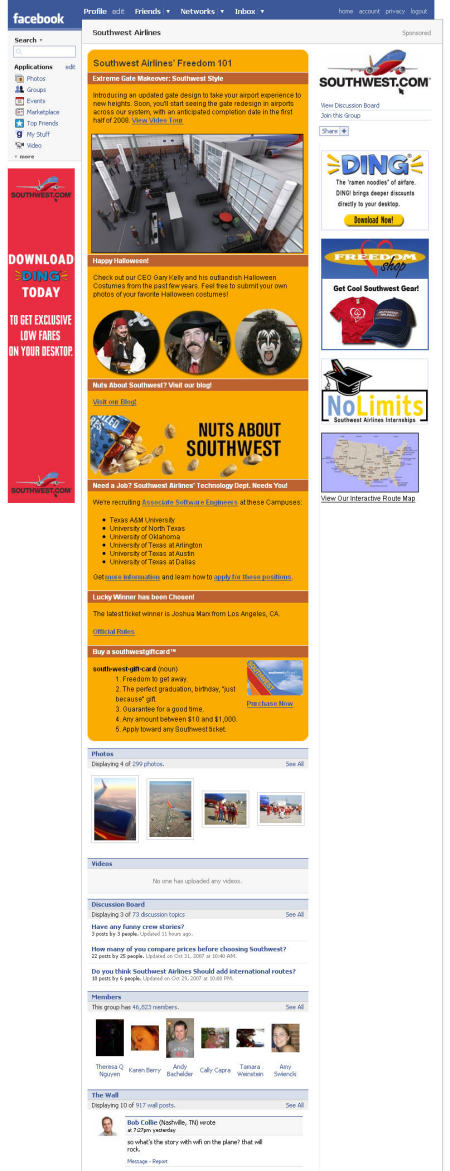 Groupe Facebook South West Airlines