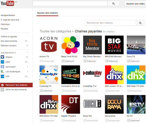 Les chaines de Youtube