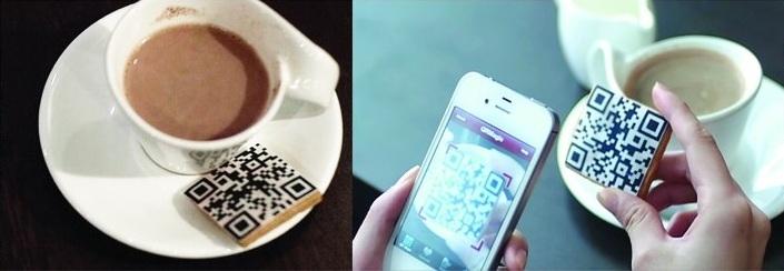exemple de QR code avec une tasse à café