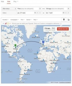 L'interface de Google flight search