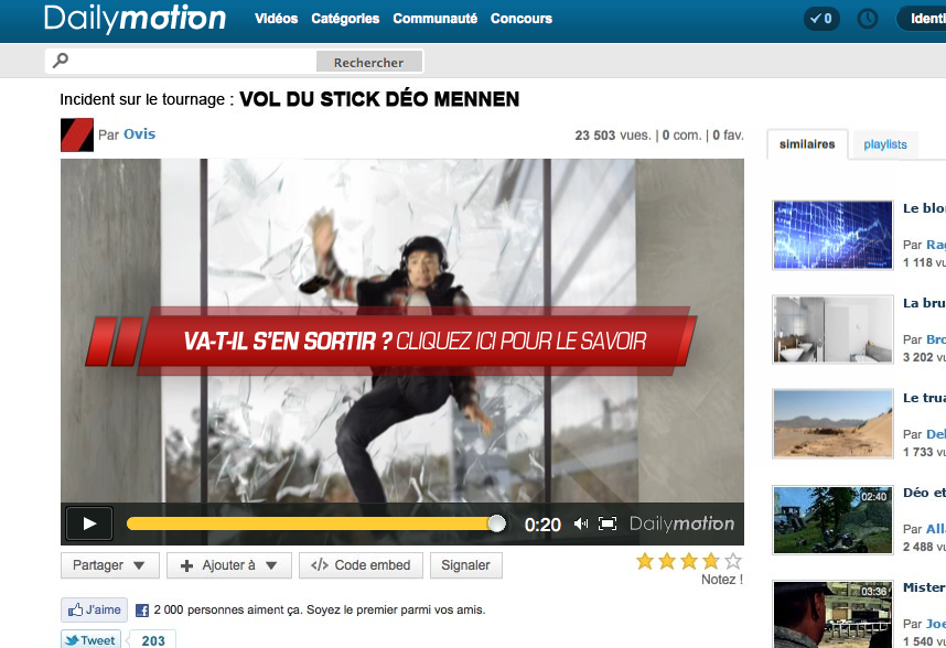 Mennen stick campagne dailymotion
