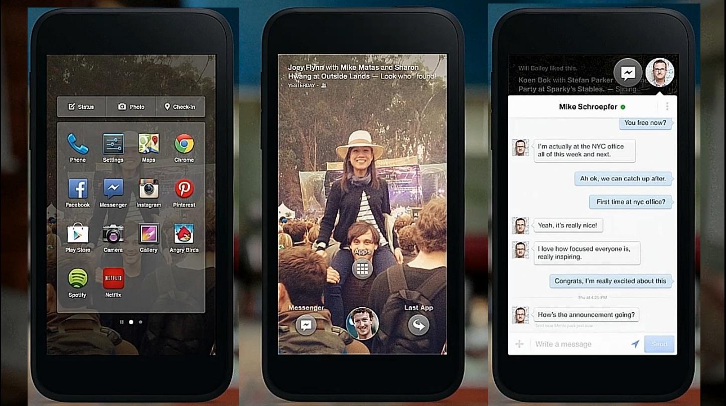 Les écrans du nouveau Facebook Home sur mobile